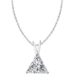 Diamond Essence  Pendant with 1.0 ct Triangle Stone in Platinum Plated Sterling Silver.