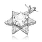trilliant cut stones in silver star pendant