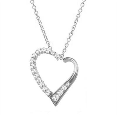 Diamond Essence Heart Shape Pendant with Round and Princess stones, 1.50 cts.t.w. in Platinum Plated Sterling Silver.