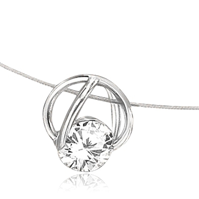 Platinum Plated Sterling Silver Slide Pendant with classic Round Brilliant Diamond Essence. 1.25 Cts.T.W.