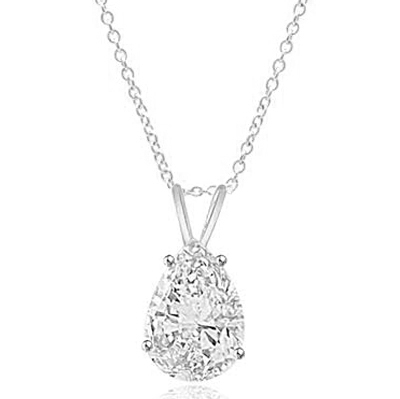 Pear-cut Diamond pendant in  Silver