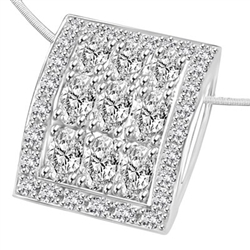 Prong Set Slide Pendant with Simulated Oval Cut Diamonds and Melee by Diamond Essence set in Sterling Silver