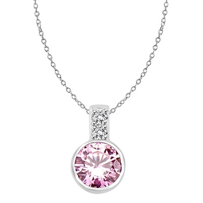 Platinum Plated Sterling Siver Pendant, 2.06 cts. In all with a 2.0 cts. Bezel-Set Round cut Pink Essence Bezel Set center.