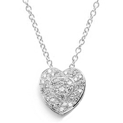 Beautiful Heart Pendant with the outer ring of heart encircling the micro pave set bulge heart. Truly lovable..2 Cts. T.W. in Platinum Plated Sterling Silver.