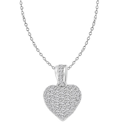 Craftman's delight Heart Pendant with micro pave set Diamond Essence accents shining your love like never before. There are tiny accents on the bale to highlight the overall glory effect. 2.5 Cts. T.W. set in Platinum Plated Sterling Silver.