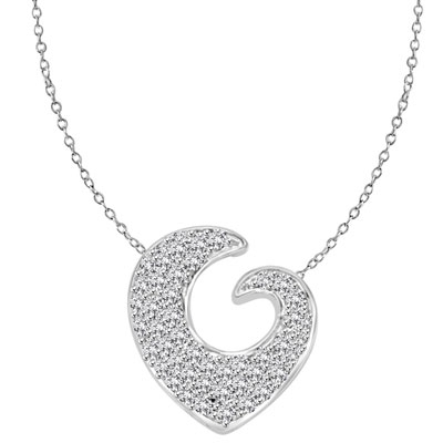 Artistic and Elegant Heart Pendant with Micro Pave Set Diamond Essence accents accentuating your love to the highest! Appx. 2 Cts. T.W. in Platinum Plated Sterling Silver.