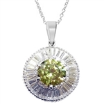 Diamond Essence Designer Pendant with 2.50 Cts. Round Peridot center in six prongs high setting, surrounded by Round Brilliant Melee and Baguettes, 7.60 Cts.T.W. in Platinum Plated Sterling Silver.
