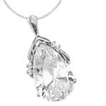 Platinum Plated Sterling Silver Pendant, 18 Carats T.W., with Pear Cut jewel and four Melee accents.The pear cut stone is 22x44mm. In the back the bail has a snap on so that it can be worn as Pearl Enhancer on a Pearl Necklace.