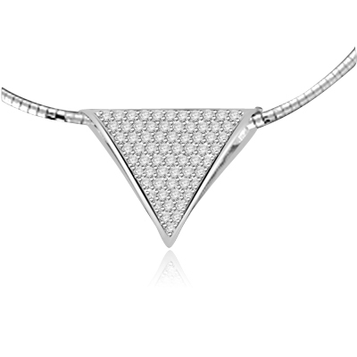 Delicious Slide to make head and heart spinning on its triangular axis! 2.0 Cts. T.W. in Platinum Plated Sterling Silver.(Chain not included)