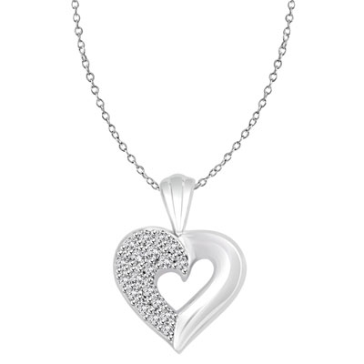 Platinum Plated Over Sterling Silver pave heart pendant, 1.0 cts. t.w.