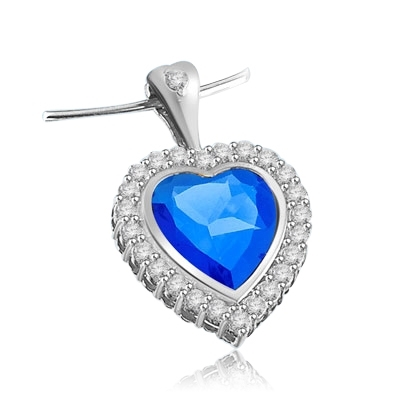 Heart pendant with 7 ct. Sapphire Essence surrounded by Brilliant Melee, 8.0 Cts.T.W in Platinum Plated Sterling Silver. .