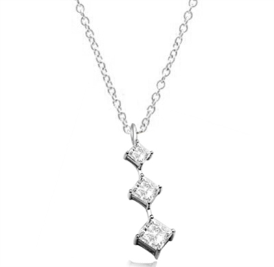 Princess cut Diamond Essence stones set graduating from small to large in Platinum Plated Sterling Silver, 2.5 cts.t.w. Silver Chain included.