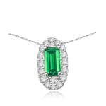 Emerald City Pendant with a 3.0 Cts. Emerald Cut Emerald Essence center surrounded by fiery Round Cut Diamond Essence Stones, 3.30 Cts. T.W. in Platinum Plated Sterling Silver.
