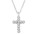 "Show your spirit with a heavy, solid cross pendant made with Round Diamond Essence stones 1.5 Cts. each Delightfully Dazzling 2-1/4""H and 1-3/4""W. Chain Not Included."