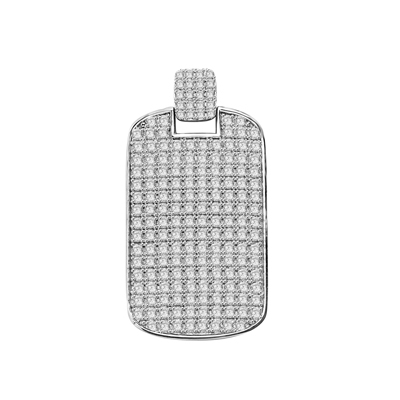 "Designed to Impress, this solid tablet pendant is perfect for your he-man! One side completely covered with Diamond Essence Accents, 2"" H and 1-1/4""W. set in Platinum Plated Sterling Silver. Chain Not Included."