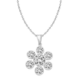 6 round stone 1 center stone Silver flower pendant