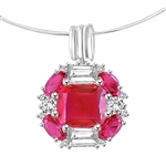 Platinum Plated Sterling Silver pendant with pink Ruby stone