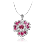 Flower effect ruby & white stone pendant in platinum plating