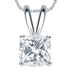 Cushion cut Diamond pendant Sterling Silver