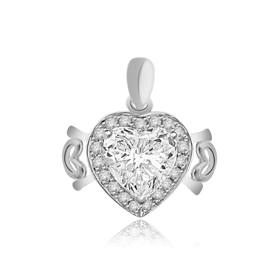 Beautiful Heart Pendant, showing off 4 carat Heart cut Diamond Essence stone set in prong setting, surrounded by round brilliant stones and 2 small hearts on either side. 5.0 cts.t.w. in Platinum Plated Sterling Silver.