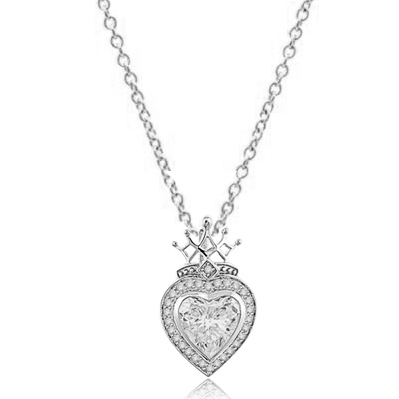 Majestic looking Heart cut Diamond Essence stone, 7 carat, surrounded by brilliant melee, with crown top set in Platinum plated Sterling Silver.