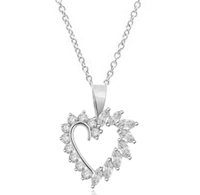 0.1ct heart shaped marquise stone pendant in silver