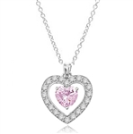 Three carat heart shape Pink Essence stone in prong setting, is surrounded by round brilliant Diamond Essence stones, making another heart. 4.0 cts.t.w. in Platinum Plated Sterling Silver.