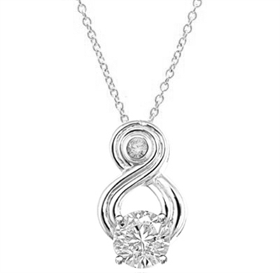 Intriguing and exotic pendant with 2 carat Diamond Essence round brilliant masterpiece in Platinum Plated Sterling Silver.
