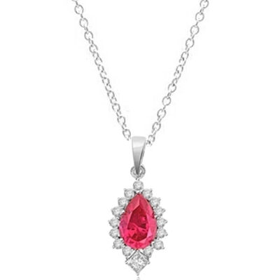 Diamond Essence Pendant with Pear cut Ruby, Brilliant Melee and Princess cut Stones, 4.0 cts.t.w. - SPD7017