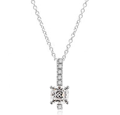 Elegant Pendant with 3 carat Cushion cut Diamond Essence stone in four prong setting, with Round Brilliant stones in four prongs, set on a bar. 4.0 cts.t.w. in Platinum Plated Sterling Silver