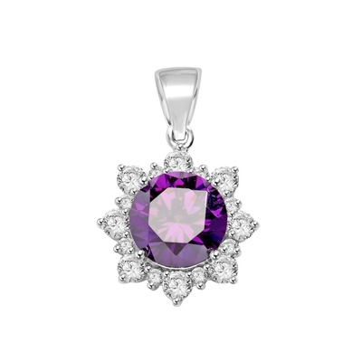 Designer Pendant with Round Amethyst Essence in center surrounded by Round Brilliant Diamond Essence and Melee. 4.5 Cts. T.W. set in Platinum Plated Sterling Silver.