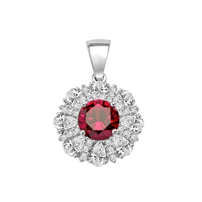 Diamond and Ruby Pendant - 2.0 cts. Round Ruby Essence in center surrounded by Pear Cut Diamond Essence and Melee. 5.5 Cts. T.W. set in Platinum Plated Sterling Silver.