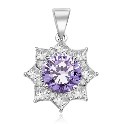 Pendant with 3.50 Cts. Round Lavender Essence in center surrounded by Princess Cut Diamond Essence and Melee. 6.50 Cts. T.W. set in Platinum Plated Sterling Silver.