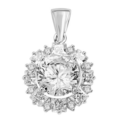 Designer Pendant with 4.0 Cts Round Brilliant Diamond Essence in center surrounded by alternately set in Princess and Melee. 7.25 Cts T.W. in Platinum Plated Sterling Silver.