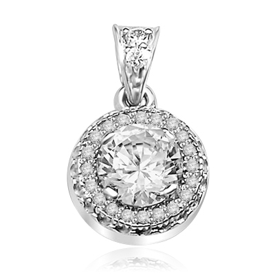 Pendant with Round Brilliant Diamond Essence in Center, surrounded by Melee 1.25 Cts T.W. set in Platinum Plated Sterling Silver.