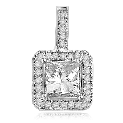 Pretty Princess Cut Diamond Essence centerpiece,surrounded by Round Brilliant Melee in Designer Pendant. 2.0 Cts. T.W. set in Platinum Plated Sterling Silver.