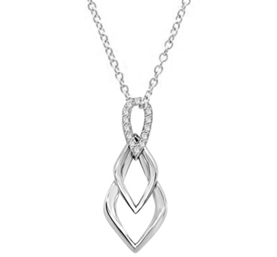 Tear Drop Pendant with Diamond Essence Triple Twist. 0.75 Cts. T.W. set in Platinum Plated Sterling Silver.