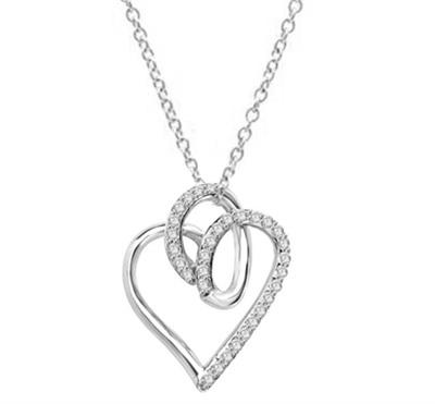 Superb Heart Shaped Pendant with Brilliant Diamond Essence Stones on Fluttery Curves. 1.5 Cts. T.W. set in Platinum Plated Sterling Silver.