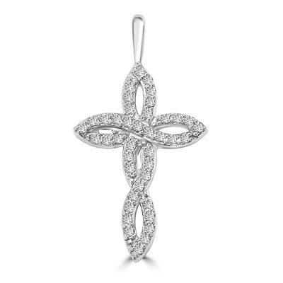 "Diamond Essence 1"" long Cross Pendant with delicate interwined design, 0.60 ct.t.w. in 14K Solid White Gold."