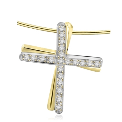 Two-tone Cross pendant with round stone in Platinum Plated Sterling Silver