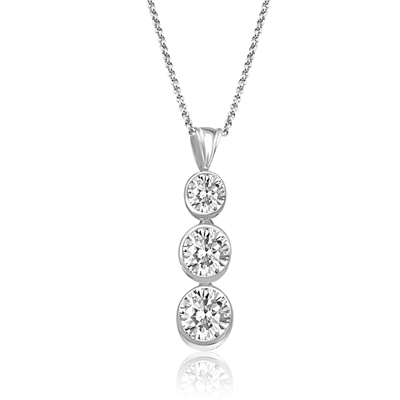 pendant of bezel-set round diamonds in silver