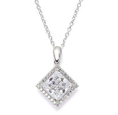 Diamond Essence Designer Pendant  with 2.5 ct. Princess Cut Stone sorrounded by Round Stones in Platinum Plated Sterling Silver.