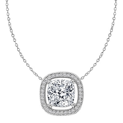 Diamond Essence Slide Pendant with 2.0ct. Cushion Cut Stone in center surrounded by round stones in Platinum Plated Sterling Silver.