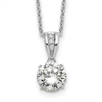 Diamond Essence 2.0 carat round brilliant stone set in prong setting of Platinum Plated Sterling Silver. Chain included.