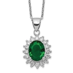 Platinum Plated Sterling Silver Diamond Essence Pendant With Emerald Essence Oval Cut Center Surrounded By Round Brilliant Melee, 3 Cts.T.W.