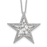 Platinum Plated Sterling Silver star pendant with 70 round brilliant melee & 10 baguettes in prong setting to shine starbright day or night. 2.50 cts.t.w.