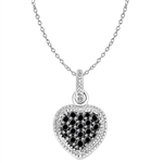 Diamond Essence Heart Pendant with Round Black and Brilliant Melee, 0.25 cts.t.w. - SPQ2428