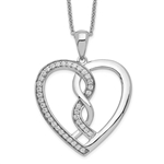 Platinum Plated Sterling Silver pendant with two hearts as one.