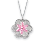 A prong set floral pendant for women with simulated pink marquise and brilliant melee diamonds by Diamond Essence set in platinum plated sterling silver. 2.0 Cts.t.w.