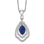 A marvelous prong set designer pendant for women with simulated 2.0 Cts. marquise cut sapphire center surrounded by a brilliant melee diamonds by Diamond Essence set in platinum plated sterling silver. 2.50 Cts.t.w.